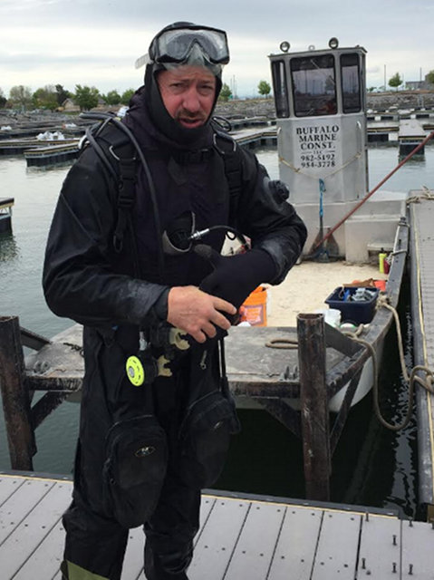 Image of Tim diving the Buffalo Harbor